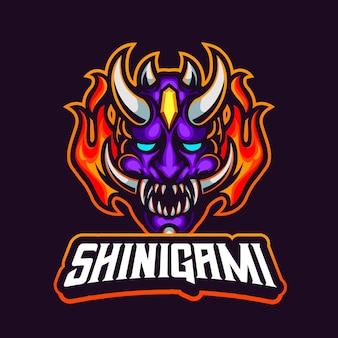 Logotipo do mascote da máscara japonesa logotipo do jogo