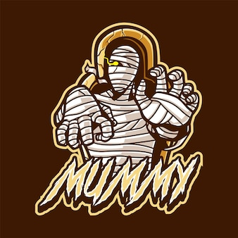 Logotipo do mascote da múmia para esportes e esportes