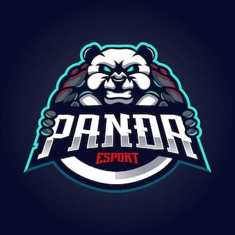 Logotipo do mascote da panda para esport