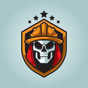 Logotipo do mascote de cabeça de crânio de bombeiro