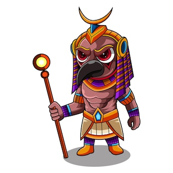 Logotipo do mascote de horus chibi