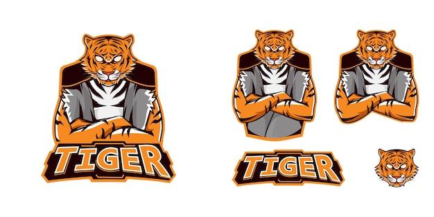 Logotipo do mascote de jogos bundle tiger esport