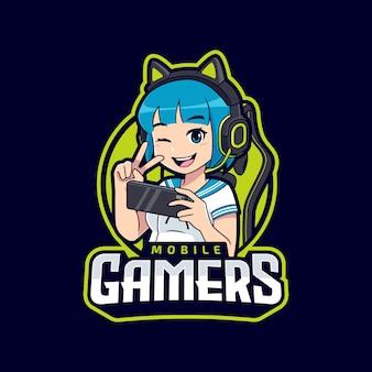 Logotipo do mascote de jogos para celular cosplay girl