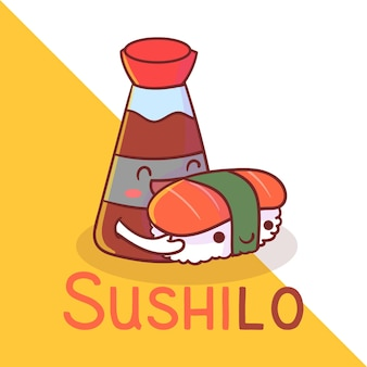 Logotipo do mascote de sushi bonito. kawaii