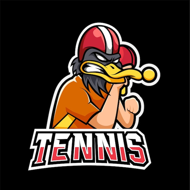 Logotipo do mascote de tênis e jogos esportivos