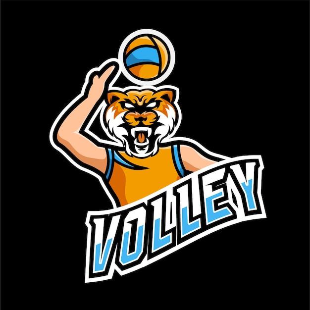 Logotipo do mascote de vôlei e jogos esportivos