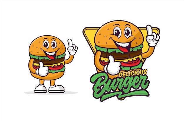 Logotipo do mascote delicioso do hambúrguer