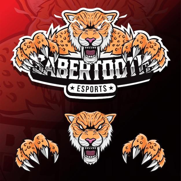 Logotipo do mascote dente de sabre de animal selvagem furioso