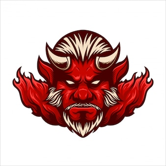 Logotipo do mascote diabo vermelho