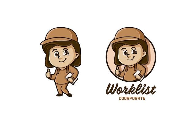 Logotipo do mascote do ajudante de movimento