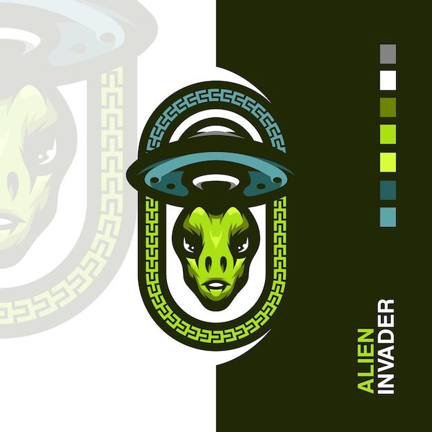 Logotipo do mascote do alien invader