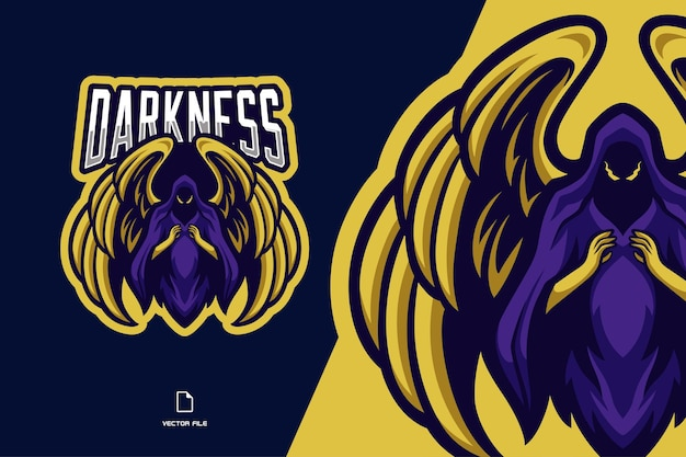 Logotipo do mascote do anjo escuro com asas