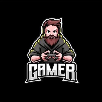 Logotipo do mascote do barba gamer