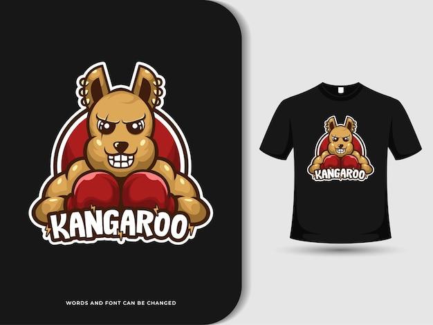 Logotipo do mascote do boxe canguru irritado com efeito de texto e modelo de design de camiseta