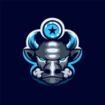 Logotipo do mascote do búfalo
