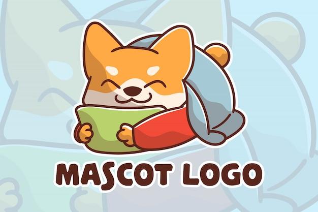 Logotipo do mascote do cão dormindo fofo