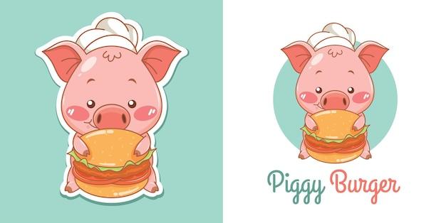 Logotipo do mascote do chef porco fofo com hambúrguer