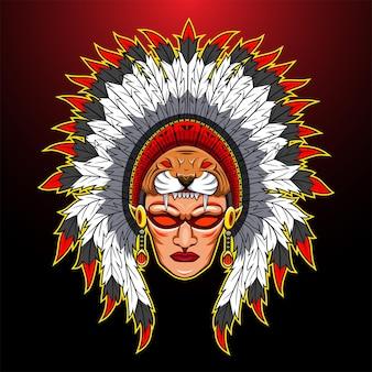 Logotipo do mascote do chefe tribal