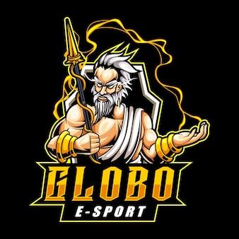 Logotipo do mascote do deus grego zeus para esportes eletrônicos e equipes esportivas