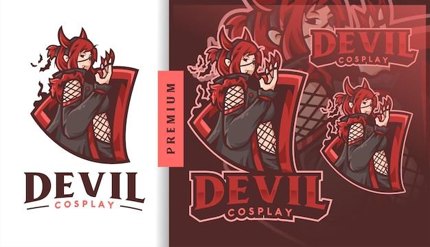 Logotipo do mascote do devil cosplay vampire girl gaming