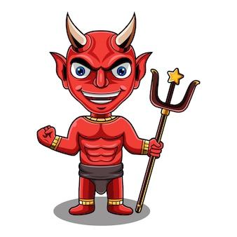 Logotipo do mascote do diabo vermelho chibi