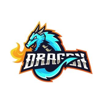 Logotipo do mascote do dragão com ilustração moderna