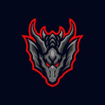Logotipo do mascote do dragão e esporte