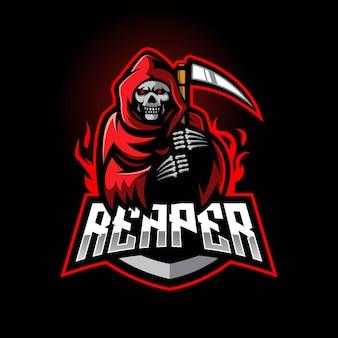 Logotipo do mascote do e-sport do grim reaper