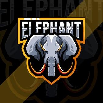 Logotipo do mascote do elefante cabeça
