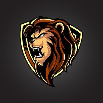 Logotipo do mascote do emblema da cabeça de leão