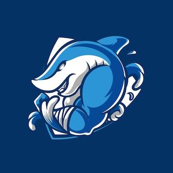 Logotipo do mascote do emblema do shark fighter