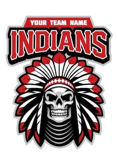Logotipo do mascote do esporte com caveira indiana