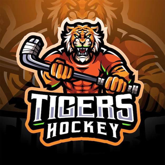 Logotipo do mascote do esporte de hóquei do tigers