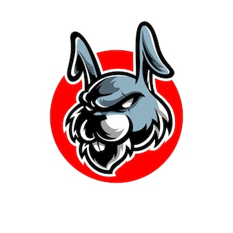 Logotipo do mascote do esporte e cabeça de coelho