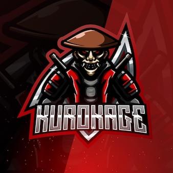 Logotipo do mascote do esporte kurokage