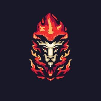 Logotipo do mascote do fogo do leão