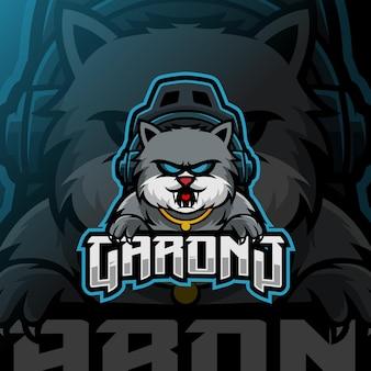 Logotipo do mascote do gato esport