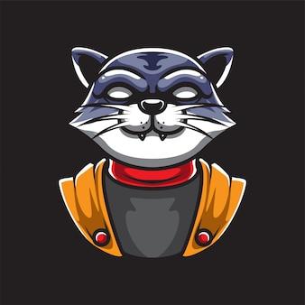 Logotipo do mascote do gato ninja