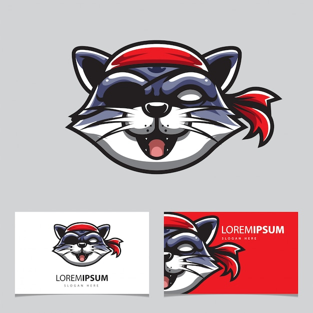 Logotipo do mascote do gato piratas