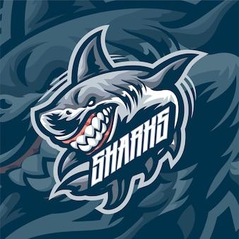 Logotipo do mascote do geek sharks