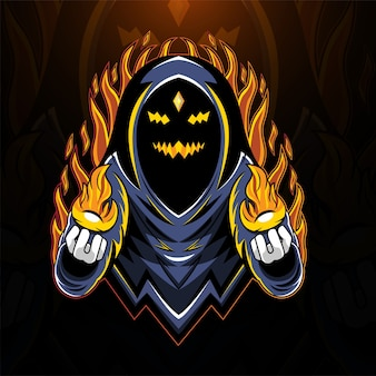 Logotipo do mascote do ghost wizard esport