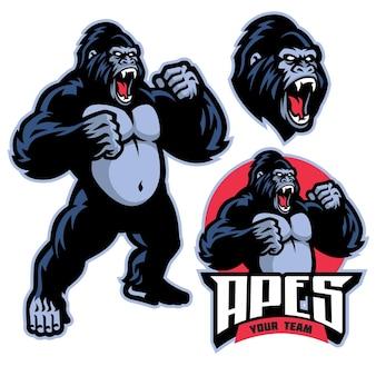Logotipo do mascote do gorila irritado