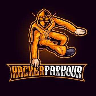 Logotipo do mascote do hacker para esportes e esportes eletrônicos