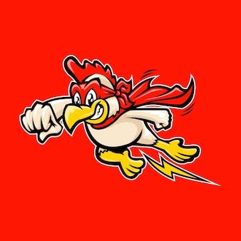 Logotipo do mascote do herói da galinha