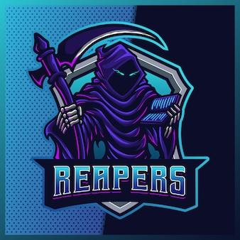 Logotipo do mascote do hood reaper com brilho azul e esport