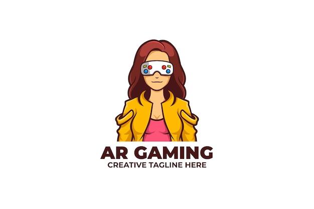 Logotipo do mascote do jogo de realidade aumentada