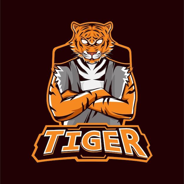 Logotipo do mascote do jogo tiger esport