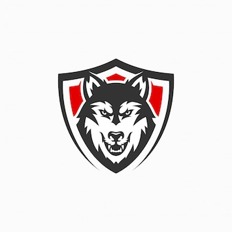 Logotipo do mascote do lobo irritado