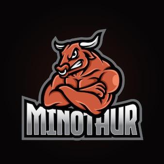 Logotipo do mascote do minotauro esport
