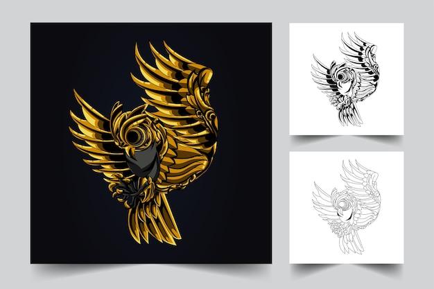 Logotipo do mascote do ornamento da coruja